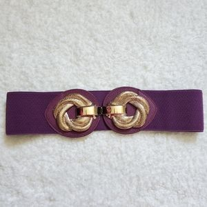 Vintage style purple and gold stretchy belt